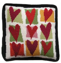 Pippin Canvas Designs: Nines > Hearts Needlepoint Designs, Needlepoint Stitches, Needlepoint Canvases, Needlework, Cross Stitch Love, Cross Stitch Flowers, Counted Cross Stitch Patterns, Cross Stitch Embroidery, Heart Canvas