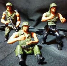 Vintage HEROES IN ACTION military Army men figures 1974 Mattel Mortar Flamethrow #Mattel