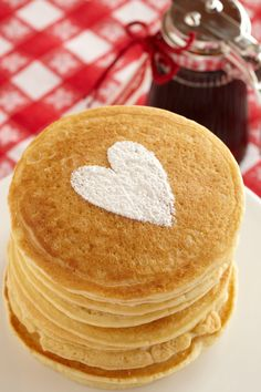 Buttermilk Pancakes. These pancakes are easy to make and a great way to share stacks of love.