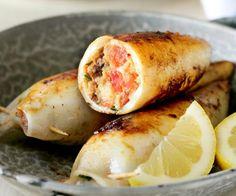 Squid Stuffed with Feta, Parsley and Chorizo