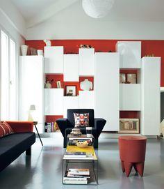 Mur de rangement on pinterest bureaus storage and cuisine - Amenagement sejour 30m2 ...