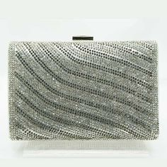 Tigerstars l $32.00 New Silver Rhinestone Hardframe Evening Case Purse Clutch Handbag
