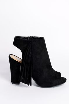 L❤️VE these   Darcie Black Faux Suede Peep Toe Tassel Boots - In The Style