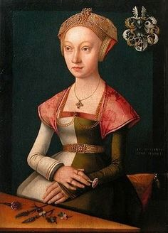 "Particolored, awesome hat, awesome sleeves! ""Portrait of a young Lady from Lübeck (c. 1520)"" by Jacob van Utrecht, housed in the Louvre."