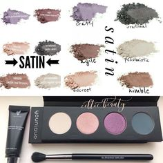 NEW Moodstruck Pressed Shadows from Younique! Here are the Satins. Smokey Eye Makeup, Makeup For Brown Eyes, Smoky Eye, Eyeshadow Set, Younique Presenter, Lip Oil, Contouring And Highlighting, Lip Plumper, Makeup Kit
