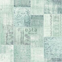 148330 krijtverf eco texture vliesbehang patchwork kelim licht groen