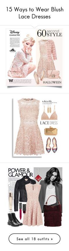 """""""15 Ways to Wear Blush Lace Dresses"""" by polyvore-editorial ❤ liked on Polyvore featuring lacedress, waystowear, Disney, Topshop, Betty Barclay, Furla, Versace, Halloween, 60secondstyle and disneycharactercostume"""
