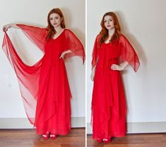 Lady in RED.   Vintage 1960s KIKI HART Red Chiffon Tiered Maxi Gown by DEJAVINTAGE on Etsy