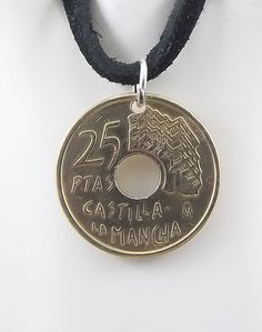 Spanish Coin Necklace, 25 Pesetas, Coin Pendant, Leather Cord, Mens Necklace, Womens Necklace, 1996 by AutumnWindsJewelry on Etsy