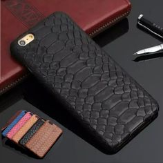 Natural real genuino de la vaca cubierta de cuero de case para iphone 7 6 6 s plus 5 5S sí case 3d teléfono móvil de diseño de piel de serpiente pitón casos