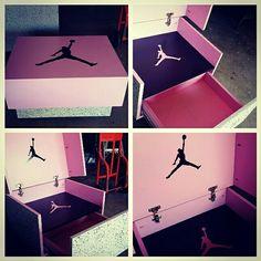 Kids custom Michael Jordan sneaker shoe storage boxs. (PINK/BLACK) $225 Jordan Shoe Box Storage, Shoe Storage, Michael Jordan Sneakers, Jordan Shoes, Jordans Sneakers, Shoes Sneakers, Air Jordans, Giant Shoe Box, Sneaker Storage