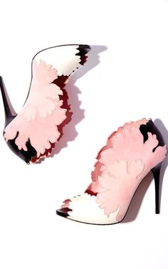 Alexander McQueen ~ Floral Pattern Peep Toe Shooties, Pink+White+Black 2015