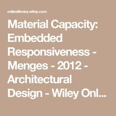 Architectural Design Wiley computational design thinking: computation design thinkin