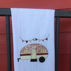 Red and cream camper flour sack towel