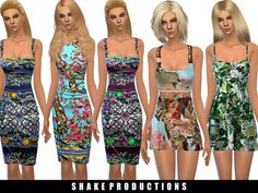 4 printed dresses! Found in TSR Category 'Sims 4 Female Clothing Sets'