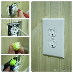 How to make an outlet flush with the wall...test the electricity is off, unscrew, add spacers, reattach and you're done! #DIY Thrifty Decor Chick, Family Room Decorating, Home Repairs, Diy Molding, Home Staging, Home Projects, Cleaning Stove, Diy Home Decor, Home Improvement