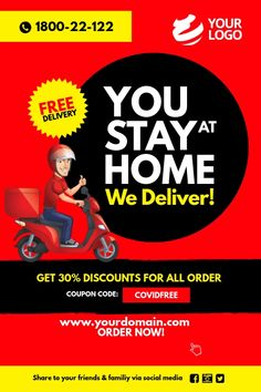 Food delivery Take Away Poster Food Graphic Design, Food Menu Design, Food Poster Design, Restaurant Menu Design, Organic Food Delivery, Delivery Food, Grocery Ads, Promo Flyer, Cake Logo Design