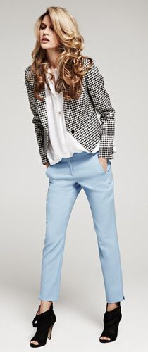 A patterned blazer (try houndstooth or a bold floral print) works great with a slim cropped pant. Try to avoid matchy-matchy-- the black/white of the blazer + the baby blue of the pants conveys a much fresher take on an otherwise classic pairing