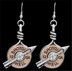 """- Copper tone shotgun shell earring with silver tone arrow and clear crystals - French hook style earrings measure approximately 1 1/2"""" x 1"""" - Hypoallergenic - Lead & nickel free"""