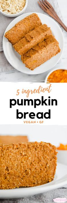 Vegan 5 ingredient pumpkin bread is full of pumpkin spice flavor and perfect for fall! It's made with just 5 healthy ingredients and fruit sweetened. #veganpumpkinbread #vegan5ingredientpumpkinbread #veganfallrecipes #healthyveganpumpkinbread #healthypumpkinbread #plantbasedpumpkinbread #vegandesserts #pumpkinbread Healthy Cookie Recipes, Delicious Vegan Recipes, Dairy Free Recipes, Healthy Baking, Vegan Desserts, Raw Food Recipes, Vegan Foods, Vegan Snacks, Bread Recipes