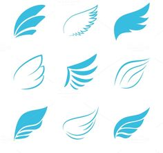 Vector Blue Wings Icons by Microvector on Creative Market | $5