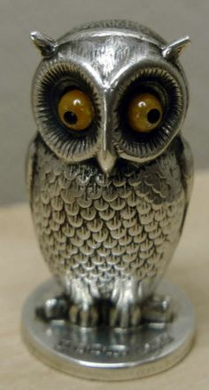 Fine Sampson Mordan Sterling Silver Wax Seal Stamp as an Owl; Chester 1906