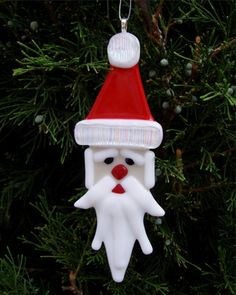 Fused Glass Christmas Ornament  Santa Claus by lazydogarts on Etsy, $21.95