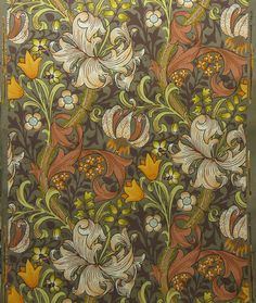 [Golden Lily] William Morris Woodblock print Morris & Co. c.1887