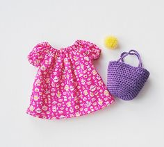 rag doll dress with crochet basket, rag doll clothing, Liberty of London, dress up doll, pompon doll
