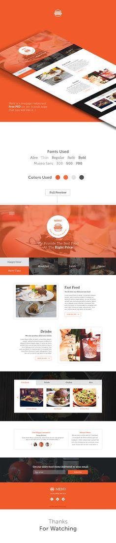 menu one page psd freebie on Behance