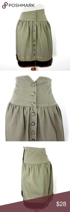 Cynthia Steffe High Waist Corset Skirt Waist: 26 Hip: 34 Length: 25 mid-weight cotton broadcloth olive green/dark green velvet trim button front below knee length Fully lined dry clean good with tag condition  2017347 Cynthia Steffe Skirts