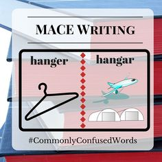 "Difficult word pair: ""hanger"" and ""hangar."" MACE Writing sees this spelling mistake a lot, so we hope this helps!  Struggling with other spelling and grammar questions? Check out our editing services: http://macewriting.com/editing"