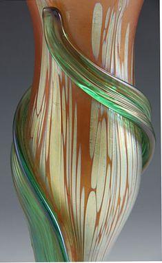 Loetz Art Nouveau florero de cristal iridiscente