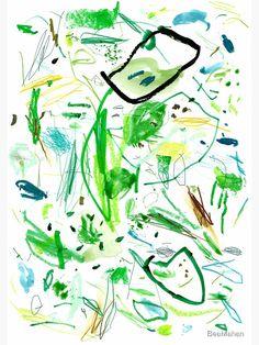 'Green Mark Making Abstract Art' Art Print by BeaMahan Digital Wall, Digital Prints, Wall Art Prints, Framed Prints, Colorful Abstract Art, Green Art, Mark Making, Printable Art, Art Boards