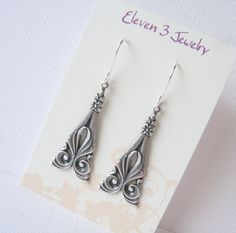 Art Deco Earrings  Antiqued Sterling Silver by eleven3jewelry, $15.00