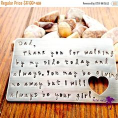 Hand Stamped Wallet Card Wallet Insert Father of the Bride Wedding Gifts Fathers Day Presents Personalized Gift Gifts for Dad Papa Gifts
