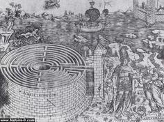 Le labyrinthe de Crète et l'histoire de Thésée et Ariane (gravure du 15e siècle)