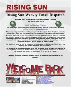 Rising Sun Weekly Email Dispatch Volume 1, Number 1 (January 16, 2017)  Weekly Community Newsletter