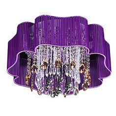 Peyton's room Modern Crystal 4 E14 Light Flush Mount With Purple Shade - USD $ 199.99