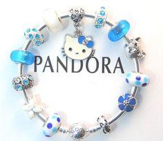 873c5ccae Authentic Pandora Silver Bangle Bracelet with European Charms Hello Kitty # PANDORA #Charm Silver Bangle