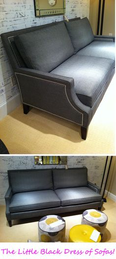 The Little Black Dress of Sofas by Wesley Hall  Love this timeless sofa design and with the nailhead trim and Uber Comfort & tailoring this is a must have piece of furniture #HPMkt #StyleSpotters www.dec-a-porter.blogspot.com