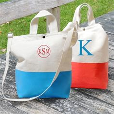 Color Dipped Canvas Totes, Custom Embroidered Tote Bag, Monogrammed Tote Bags....MOH gifts.