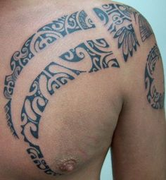 Polynesian Torse and Chest Tattoo