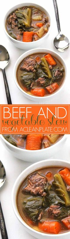 Slow-cooker Beef and Vegetable Stew with Bacon recipe from acleanplate.com