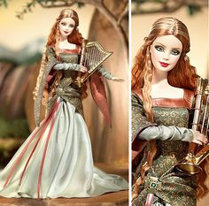 This barbie doll has the most beautiful medieval gown ever. I feel an urge to recreate it. And I love the harp.