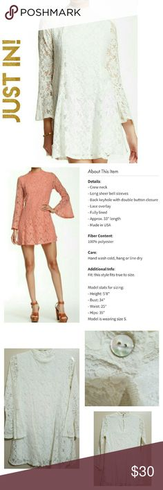 30% Off Bundles!♡Peach Love Lace Dress Cream color. Fully lined. Description of dress in Pic 2. Actual dress you are purchasing in Pics 3-4. NWOT Boutique dress. While there is no tag with the size, the measurement in Pic 4 indicates it to be a Small. Please compare measurements with a dress you own. Peach Love Dresses