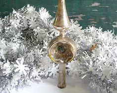 Vintage antique Christmas Tree topper Hand blown Mercury glass Indent ornament Silver holiday decorations