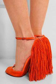 Kylie Minogue Flaunts Engagement Ring in Christian Louboutin 'Otrot' Sandals Fringe Sandals, Suede Sandals, Suede Shoes, Shoe Boots, Shoes Heels, Shoes Men, Fringe Fashion, Christian Louboutin Shoes, Fashion Shoes