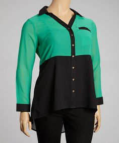 Another great find on #zulily! Emerald Color Block Hi-Low Button-Up - Plus by Apollo #zulilyfinds