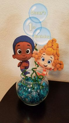 1st birthday party centerpiece.  Diy bubble guppies party decorations.
